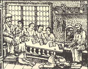 Урок в школе. Из букваря Ф. Поликарпова. 1701 г.